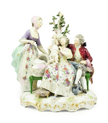 Lot 55 - A Meissen Style Porcelain Figure Group, late 19th century, modelled and painted as an 18th...