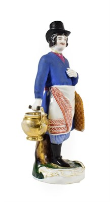 Lot 58 - A Gardner Porcelain Figure of a Sbiten Vendor, early 19th century, standing wearing a black top...