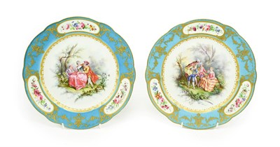 Lot 60 - A Pair of Sevres Porcelain Plates, the porcelain 18th century, the decoration later, painted...