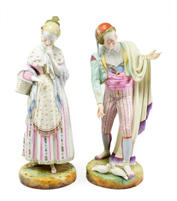Lot 62 - A Pair of French Porcelain Figures of Lovers, 19th century, he wearing a red skull cap and...