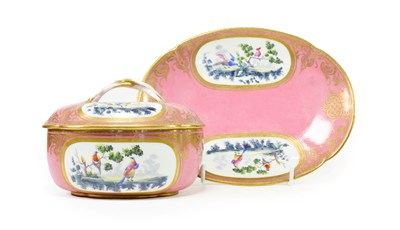 Lot 63 - A Sèvres Style Porcelain Tureen, Cover and Stand, late 19th century, of lobed oval form,...