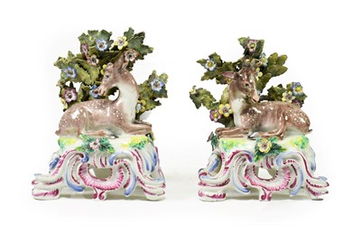 Lot 64 - A Pair of Samson of Paris Porcelain Figures of a Stag and Doe, late 19th century, after Bow...