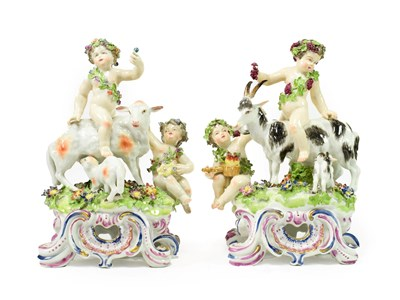 Lot 65 - A Pair of Samson of Paris Porcelain Figures Groups from The Seasons, late 19th century, after...