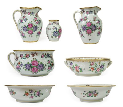 Lot 66 - ~ A Samson of Paris Porcelain Toilet Set, in Chinese Export style, painted in famille rose...