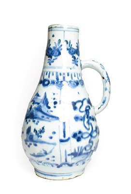 Lot 68 - A Kraak Porcelain Ewer, early 17th century, of pear shape with loop handle, typically painted...
