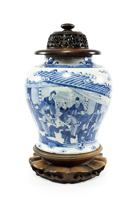 Lot 70 - A Chinese Porcelain Jar, Kangxi, of baluster form, painted in underglaze blue with dignitaries...