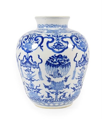 Lot 72 - A Chinese Porcelain Jar, Kangxi reign mark and probably of the period, of ovoid baluster form...