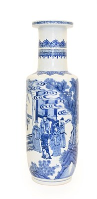 Lot 73 - A Chinese Porcelain Rouleau Vase, Kangxi, painted in underglaze blue with a musician kneeling...
