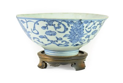 Lot 74 - A Chinese Porcelain Bowl, Qing Dynasty, probably 18th century, painted in underglaze blue with...