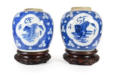 Lot 76 - A Matched Pair of Chinese Porcelain Ginger Jars, 19th century, of ovoid form, painted in underglaze