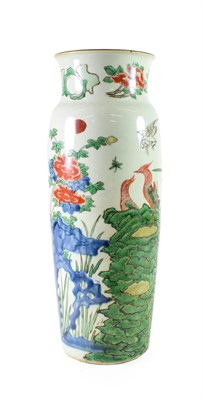 Lot 78 - A Chinese Wucai Porcelain Sleeve Vase, mid 17th century, painted in famille verte enamels with...