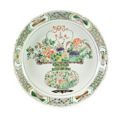 Lot 80 - A Chinese Porcelain Dish, Kangxi, painted in famille verte enamels with a basket of flowers...