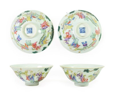 Lot 82 - A Pair of Chinese Porcelain Rice Bowls, Daoguang reign marks and possibly of the period, painted in