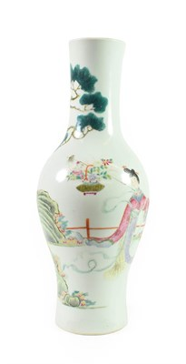 Lot 83 - A Chinese Porcelain Vase, Qing Dynasty, 18th/19th century, of baluster form, painted in famille...