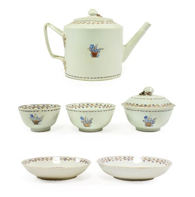 Lot 84 - A Chinese Porcelain Tea Service, circa 1790, painted with a basket of flowers within a floral...