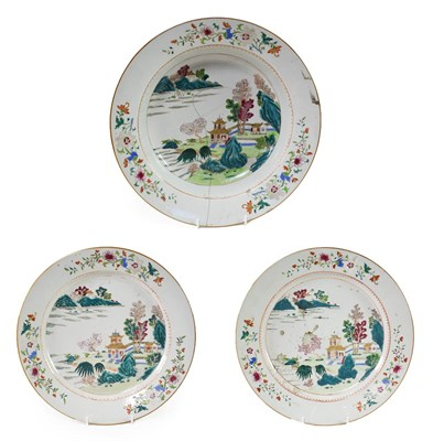 Lot 86 - ~ A Pair of Chinese Porcelain Dishes, Yongzheng/Qianlong, painted in famille rose enamels with...