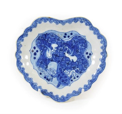 Lot 90 - A Chinese Porcelain ''Ko-Sometsuke'' Dish, mid 17th century, of fluted leaf shape, painted in...