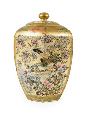 Lot 92 - A Satsuma Earthenware Jar and Cover, Meiji period, of hexagonal baluster form, painted with...
