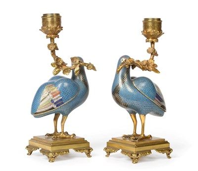 Lot 95 - A Pair of Gilt Bronze Mounted Chinese Cloisonné Enamel Figures of Quails mounted as...