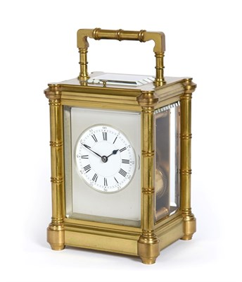 Lot 400 - A Brass Striking and Repeating Carriage Clock, signed Henri Jacot, circa 1890, carrying handle...