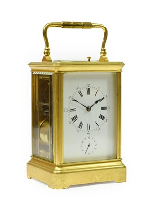 Lot 401 - <> A Brass Petite Sonnerie Repeating Alarm Carriage Clock, signed Richard & Co, circa 1900,...