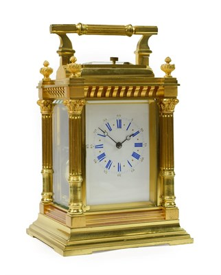 Lot 402 - <> A Brass Striking and Repeating Carriage Clock, circa 1890, carrying handle and repeat...