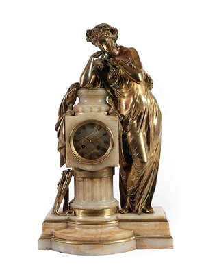 Lot 406 - A Figural Gilt Bronze and Marble Striking Mantel Clock, circa 1870, depicting a gilt bronze lady in