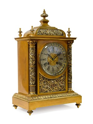 Lot 410 - <> A Brass Hunting Theme Striking Mantel Clock, retailed by Goldsmiths Alliance Limited,...