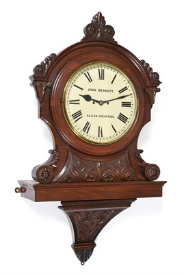Lot 413 - A Victorian Carved Mahogany Striking Bracket Wall Clock, signed John Bennett, 65&64 Cheapside,...