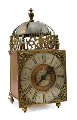 Lot 416 - <> A Lantern Form Hook and Spike Striking Wall Clock, unsigned, late 18th Century, lantern form...