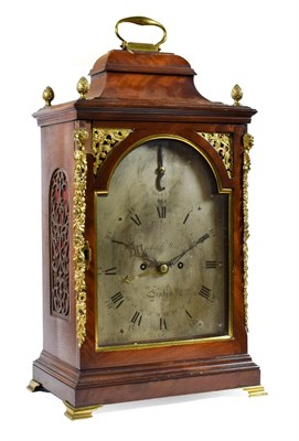 Lot 418 - ~ A George III Mahogany Striking Table Clock, signed John Meek, London, circa 1790, inverted...