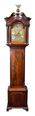 Lot 419 - A Small 18th Century Style Mahogany Longcase Clock, swan neck pediment, Corinthian capped...