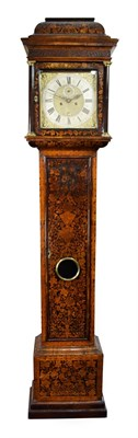 Lot 425 - <> A Walnut Marquetry Eight Day Longcase Clock, signed Hen Massy, London, circa 1700, caddied...