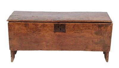 Lot 444 - <> A Late 17th Century Elm Chest, of six plank construction, the moulded hinged lid above an...