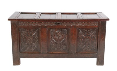 Lot 449 - A Late 17th Century Joined Oak Chest, the hinged lid with four moulded panels enclosing a...