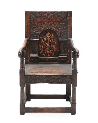 Lot 454 - A 17th Century Joined Oak, Parquetry and Marquetry Inlaid Wainscot Armchair, Leeds region, the back