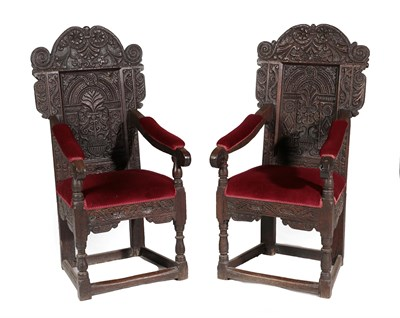 Lot 459 - ^ A Pair of 17th Century Joined Oak Armchairs, later upholstered and recovered in red velvet,...