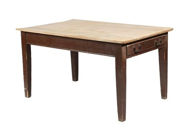 Lot 463 - ~ A Victorian Stained Pine and Scrubbed-Top Kitchen Table, late 19th century, with brown...