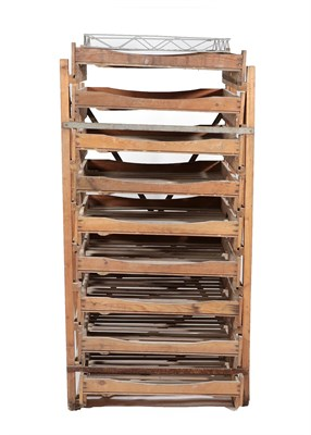 Lot 464 - ~ An Early 20th Century Pine Apple Rack, with eight sliding slatted trays, 79cm by 65cm by 158cm