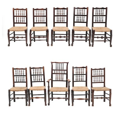 Lot 467 - A Harlequin Set of Ten Ash and Elm Rush-Seated Dining Chairs, comprising seven 19th century...