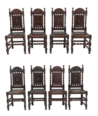 Lot 468 - Eight Carved Oak Dining Chairs, late 19th/early 20th century, with close-nailed and painted leather