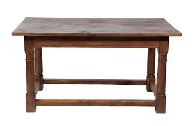 Lot 470 - ~ A Joined Oak Refectory Style Dining Table, basically 18th century, the plank top above a...