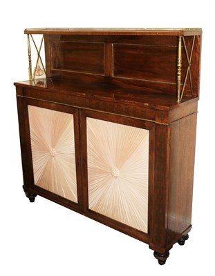 Lot 471 - A Regency Rosewood and Brass Inlaid Chiffonier, early 19th century, the superstructure with...