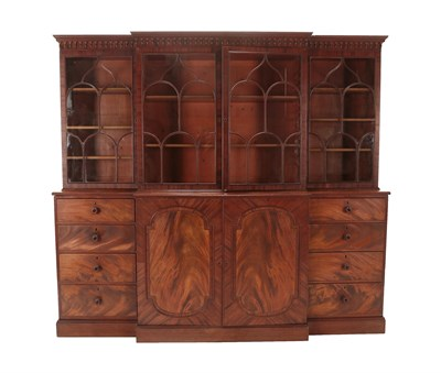 Lot 474 - A George III Mahogany Library Breakfront Bookcase, labelled George Allen, early 19th century,...