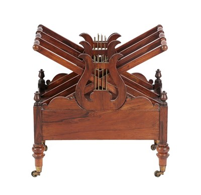 Lot 475 - A Late Regency Rosewood Four-Division Canterbury, early 19th century, with brass lyre shaped...