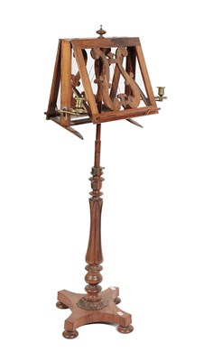 Lot 476 - An Early Victorian Rosewood Duet Stand, mid 19th century, with lyre shaped supports on an...