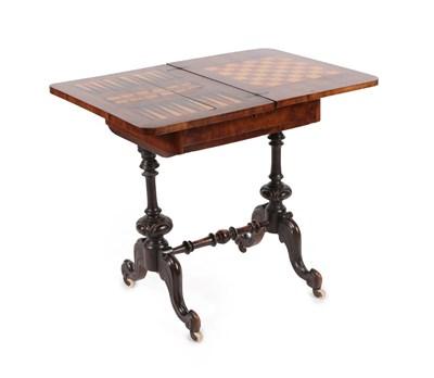 Lot 479 - A Victorian Figured Walnut Work/Games Table, circa 1880, the pivoting top with Tunbridgeware mosaic