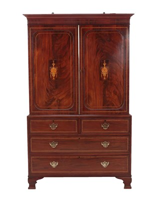 Lot 482 - A Late George III Mahogany, Marquetry and Parquetry Decorated Linen Press, early 19th century,...