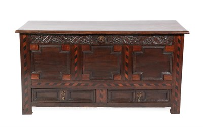 Lot 487 - <> A Joined Oak Chest, late 17th century, the later moulded hinged lid above a vine decorated...