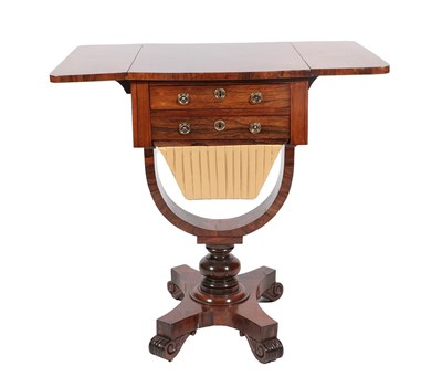 Lot 491 - <> An Early Victorian Rosewood Work Table, mid 19th century, with two real and two sham small...